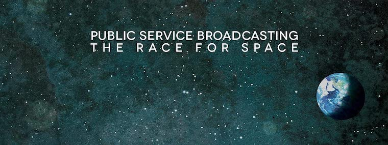Detail of the cover art of The Race for Space album cover, showing an illustration the earth in space